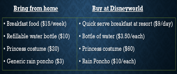 Bring vs Buy Disney World