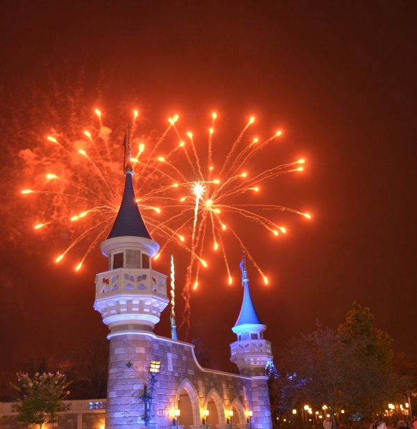 Fireworks from the new Fantasyland at Magic Kingdom