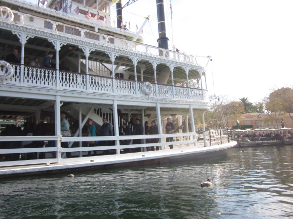 Davy Crockett's Explorer Canoes next to Mark Twain's Riverboat - Disneyland