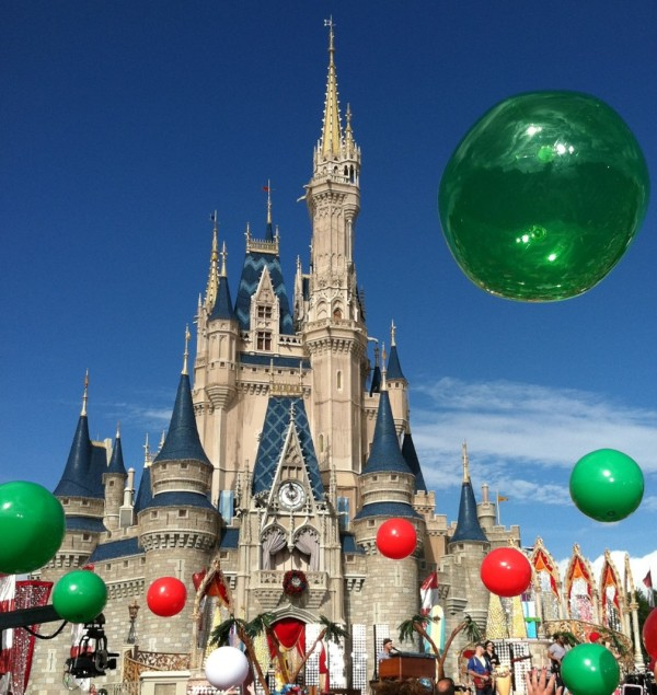 Red and Green Christmas Beach Balls at Cinderella Castle