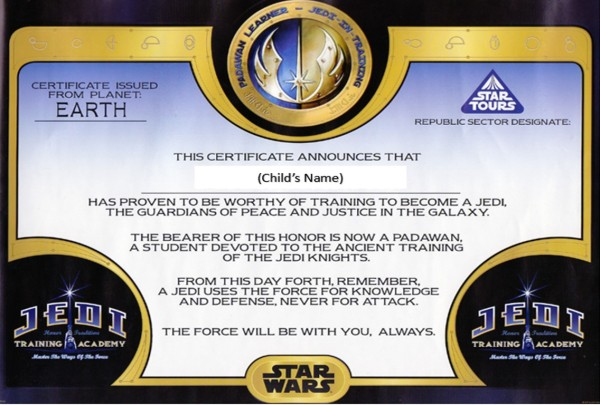 Jedi Training Certificate